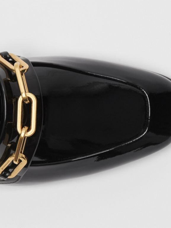Link Detail Patent Leather Loafers in Black - Women | Burberry - cell image 1