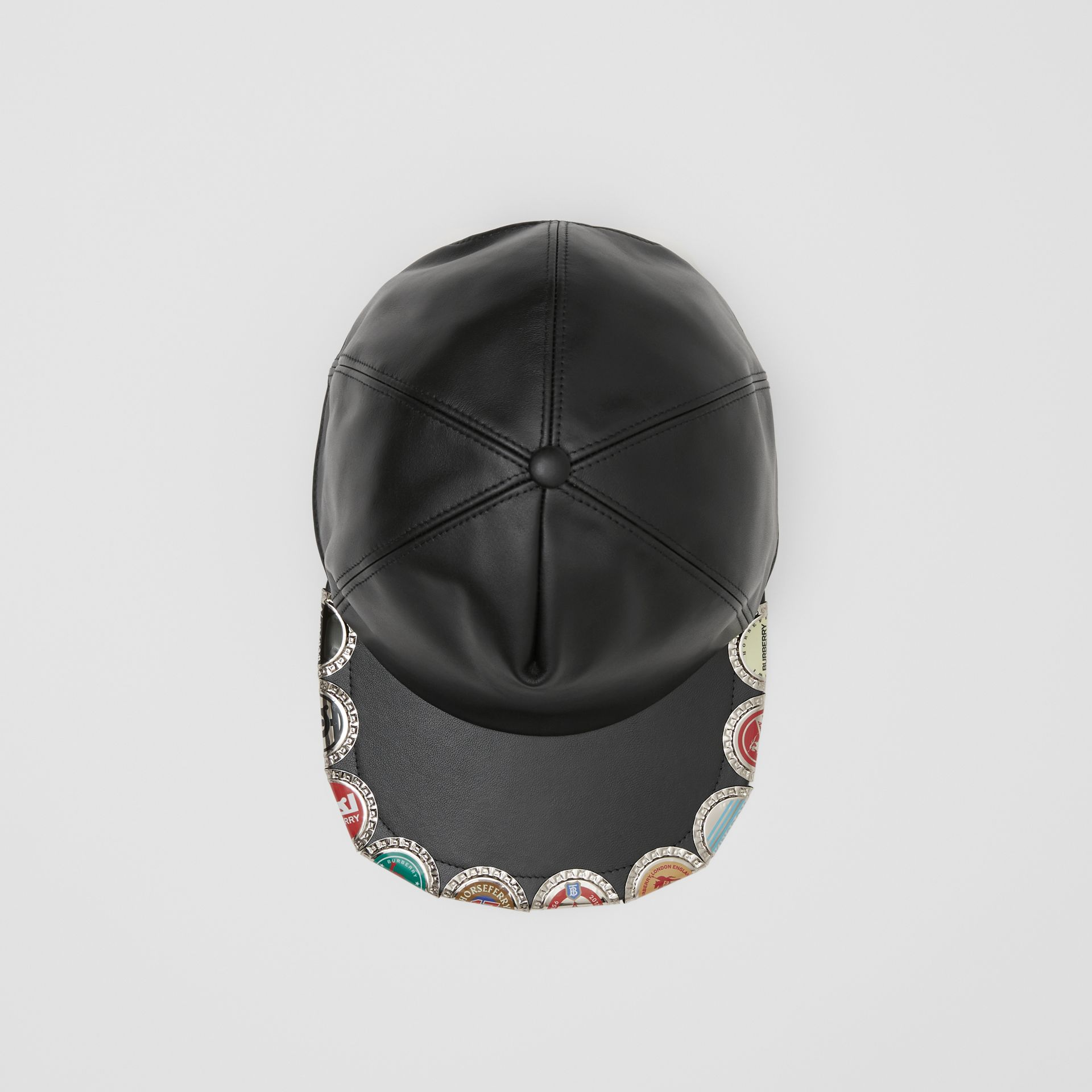 Bottle Cap Detail Leather Baseball Cap in Black | Burberry United Kingdom - gallery image 0