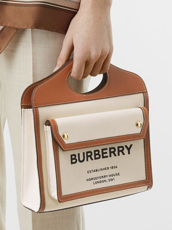 Borsa Pocket mini bicolore in tela e pelle (Naturale/marrone Malto) - Donna | Burberry - cell image 2
