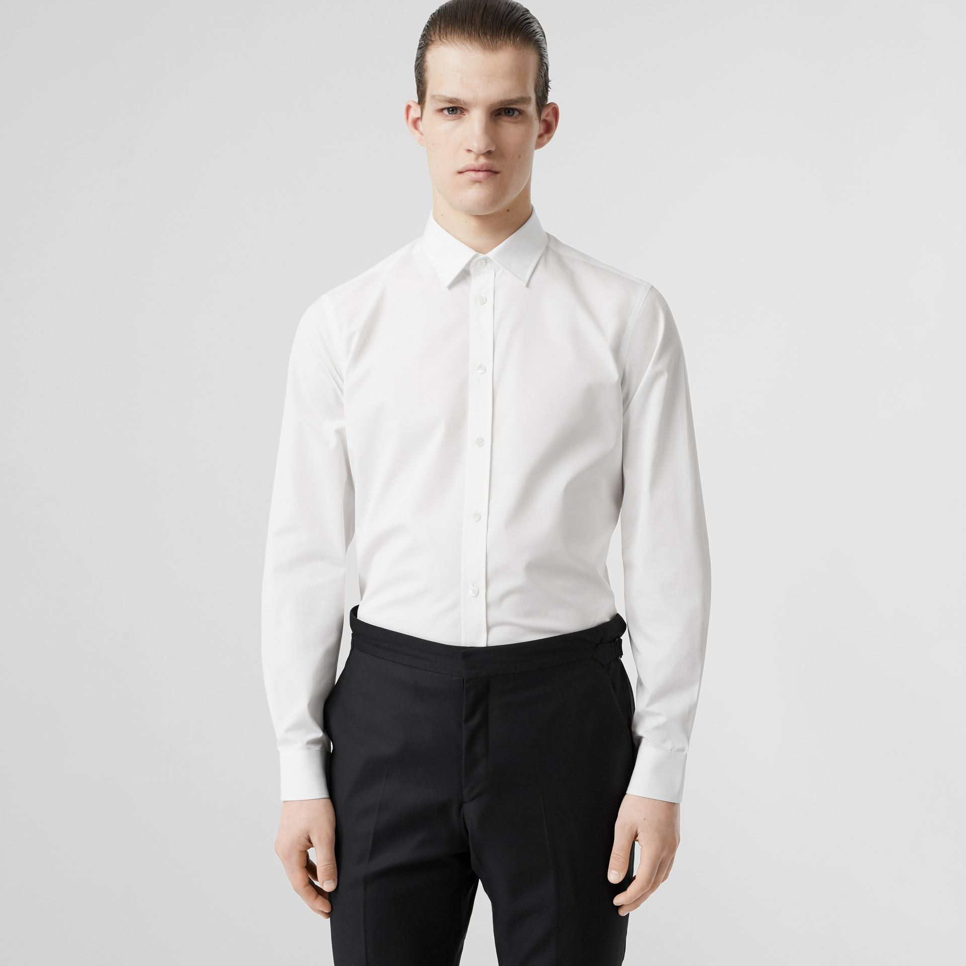 Slim Fit Monogram Motif Cotton Poplin Shirt in White - Men | Burberry Canada - gallery image 0
