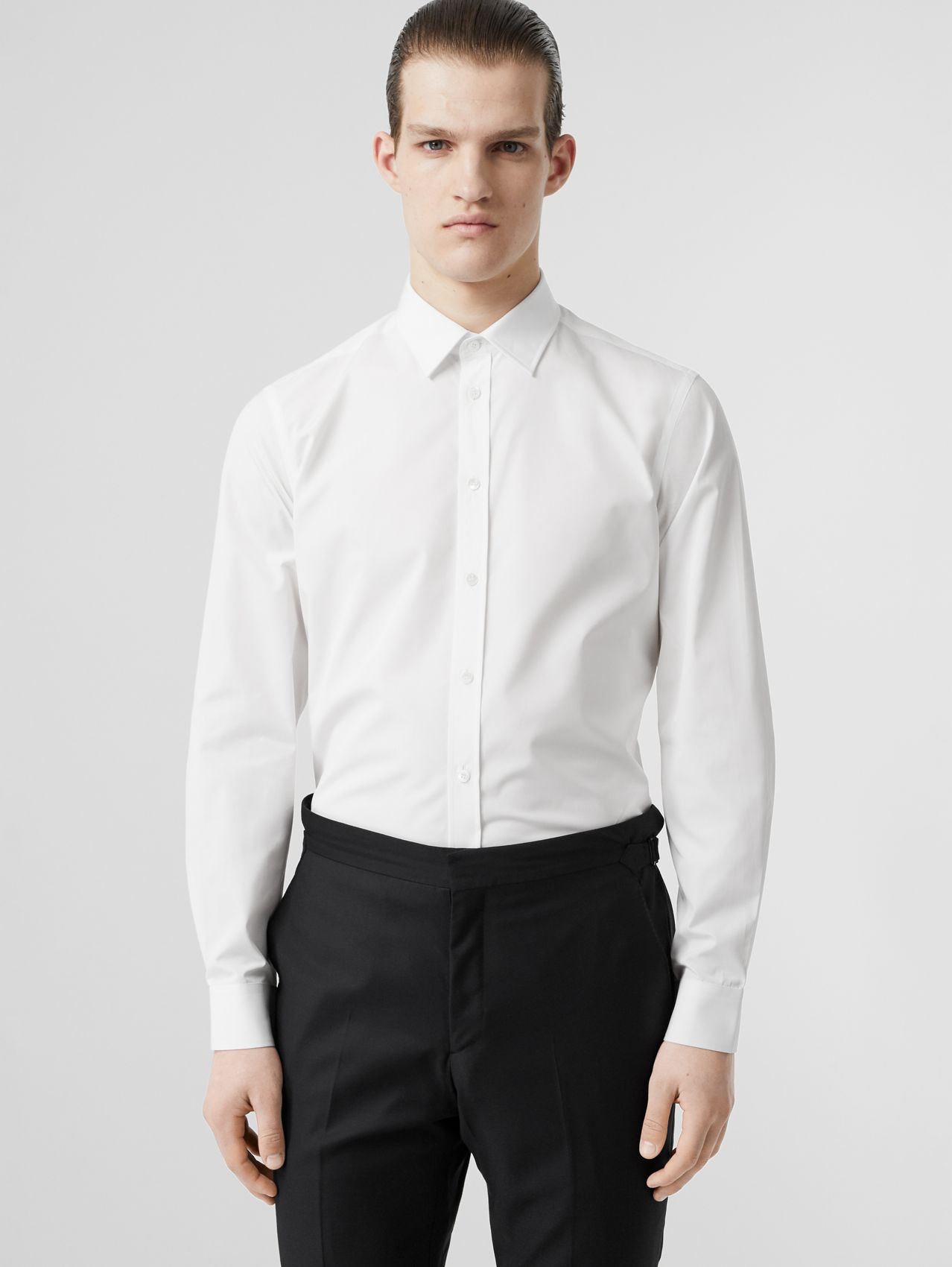 Slim Fit Monogram Motif Cotton Poplin Shirt (White)