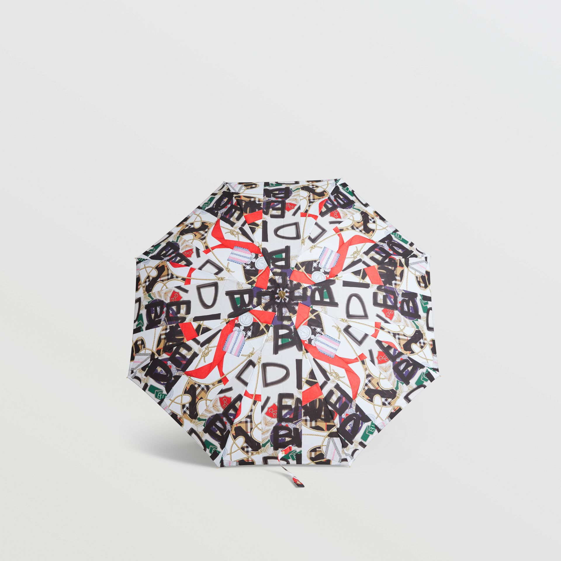 Graffiti Archive Scarf Print Folding Umbrella in Multicolour | Burberry Australia - gallery image 2