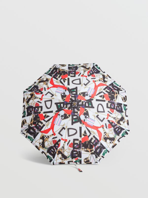 Graffiti Archive Scarf Print Folding Umbrella in Multicolour | Burberry Australia - cell image 2