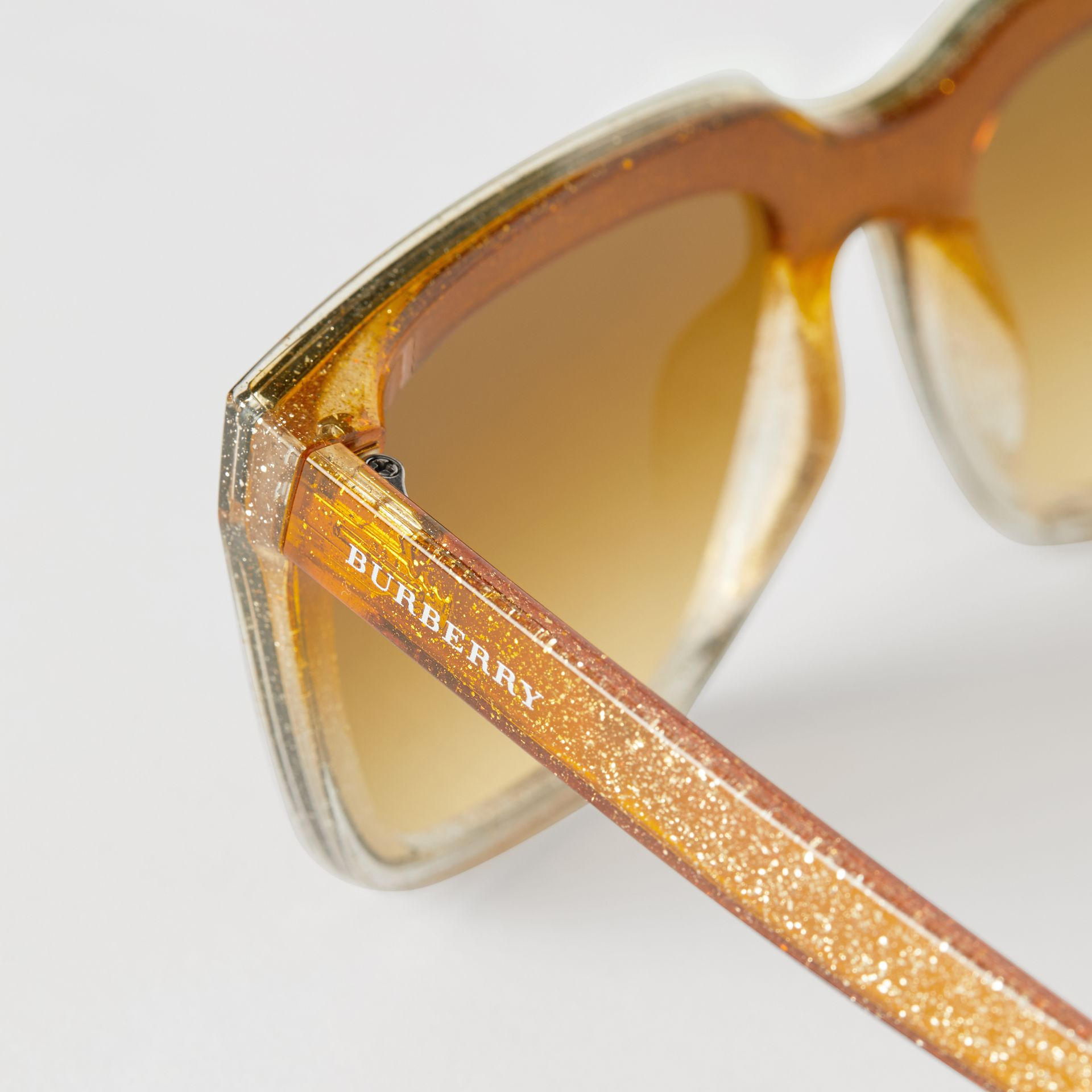 Glitter Detail Square Frame Shield Sunglasses in Yellow - Women | Burberry - gallery image 1