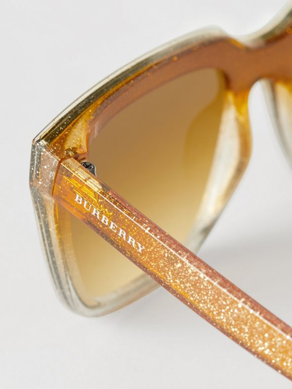 Glitter Detail Square Frame Shield Sunglasses in Yellow - Women | Burberry Australia - cell image 1
