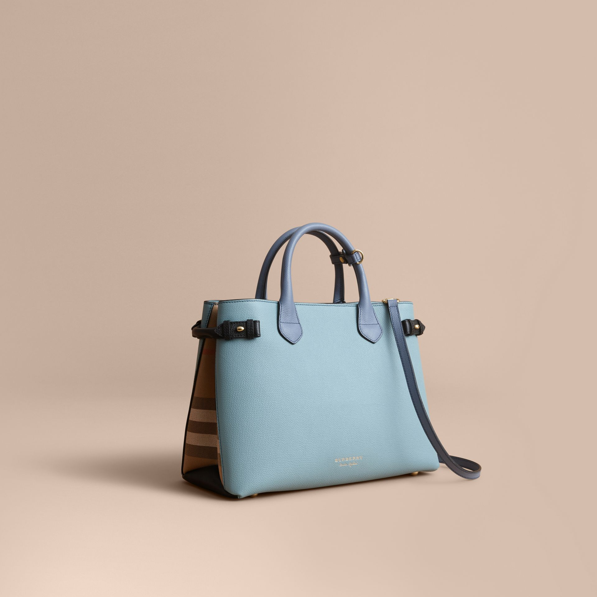 The Medium Banner in Tri-tone Leather and House Check in Pale Opal/slate Blue - Women | Burberry - gallery image 1