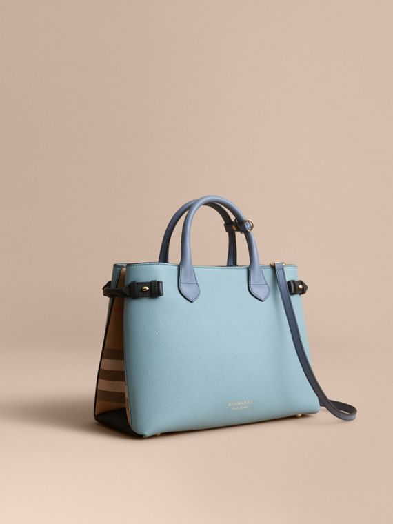 Sac The Banner medium en cuir tricolore et coton House check - Femme | Burberry