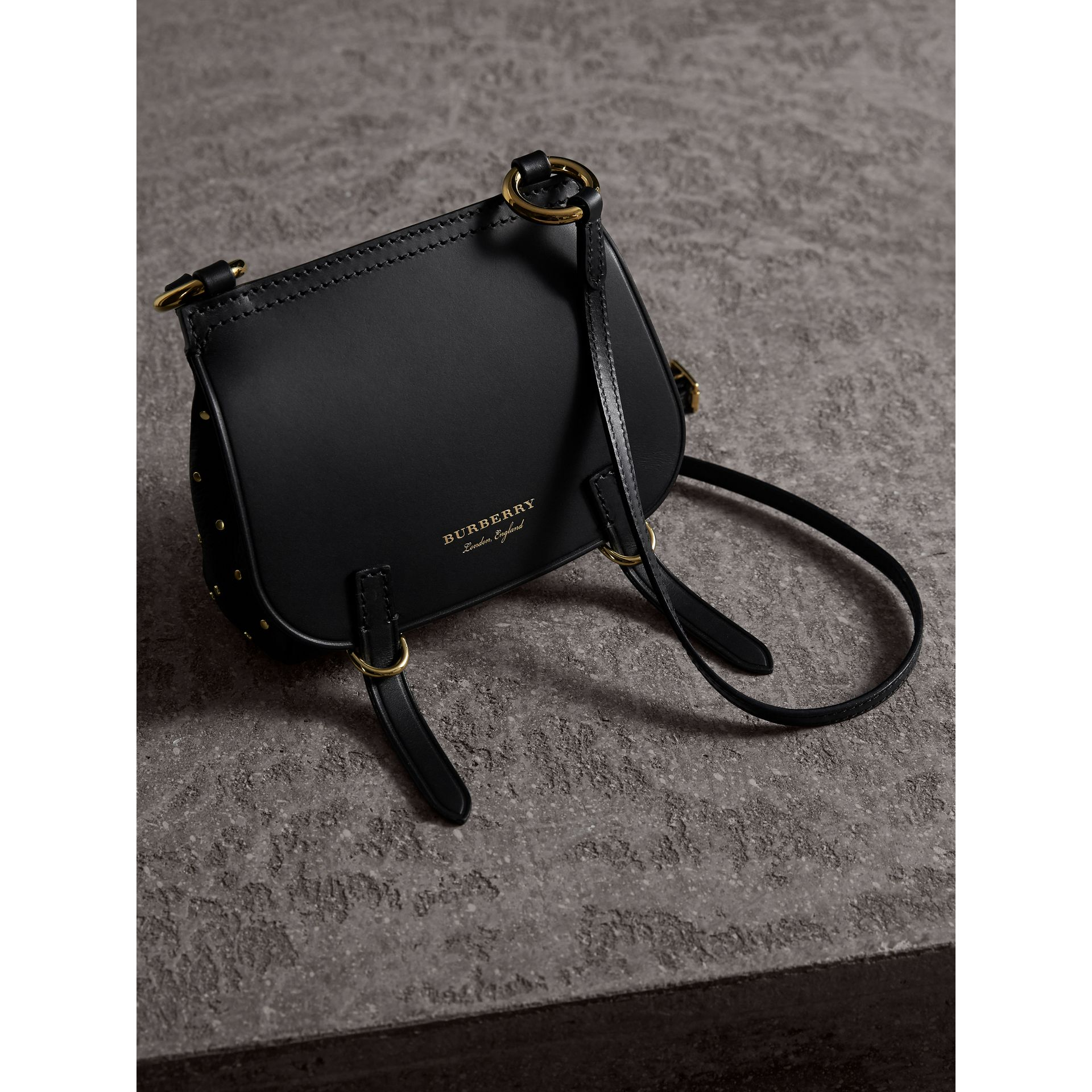 The Baby Bridle Bag in Riveted Leather in Black - Women | Burberry Australia - gallery image 6