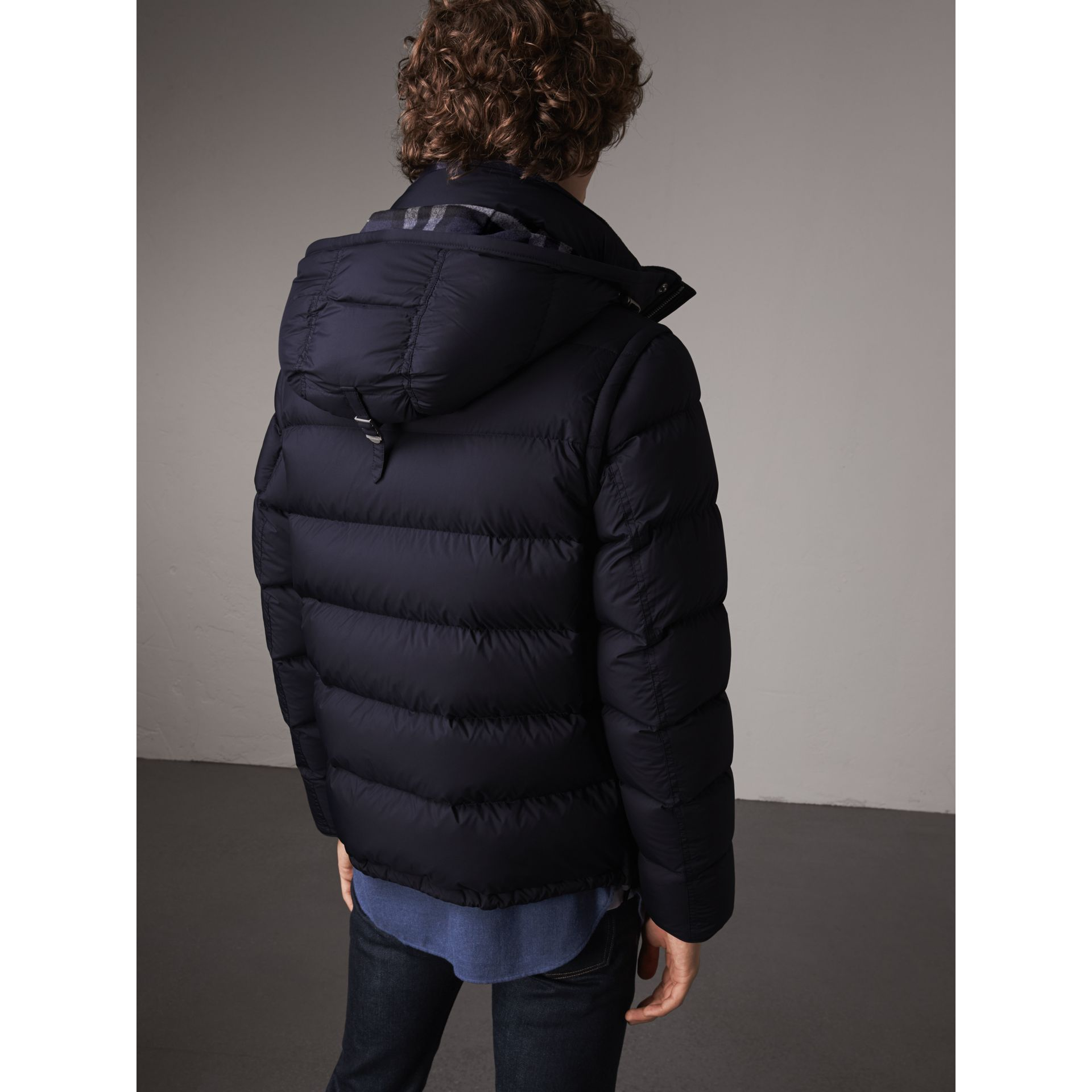 Detachable-sleeve Down-filled Puffer Jacket in Navy - Men | Burberry - gallery image 3