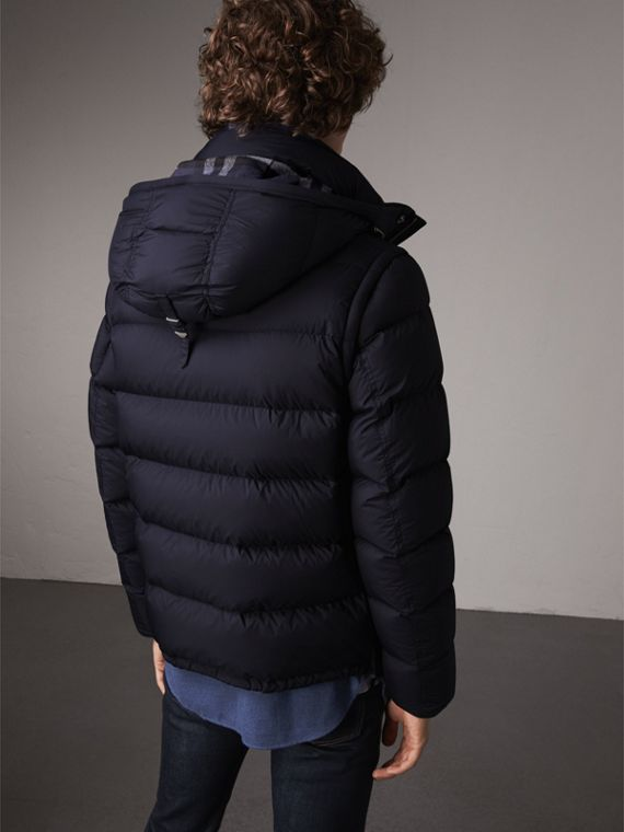 Detachable-sleeve Down-filled Puffer Jacket in Navy - Men | Burberry - cell image 2