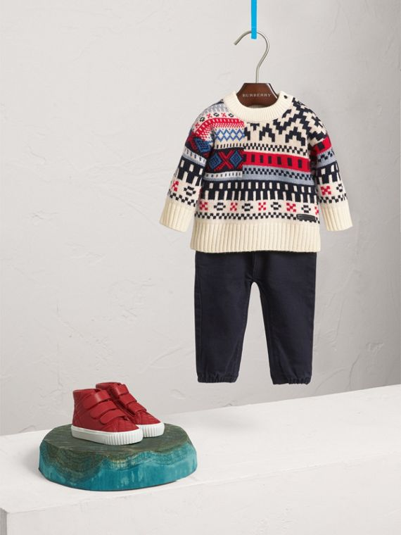 Fair Isle Wool Cashmere Patchwork Sweater in Pewter Blue