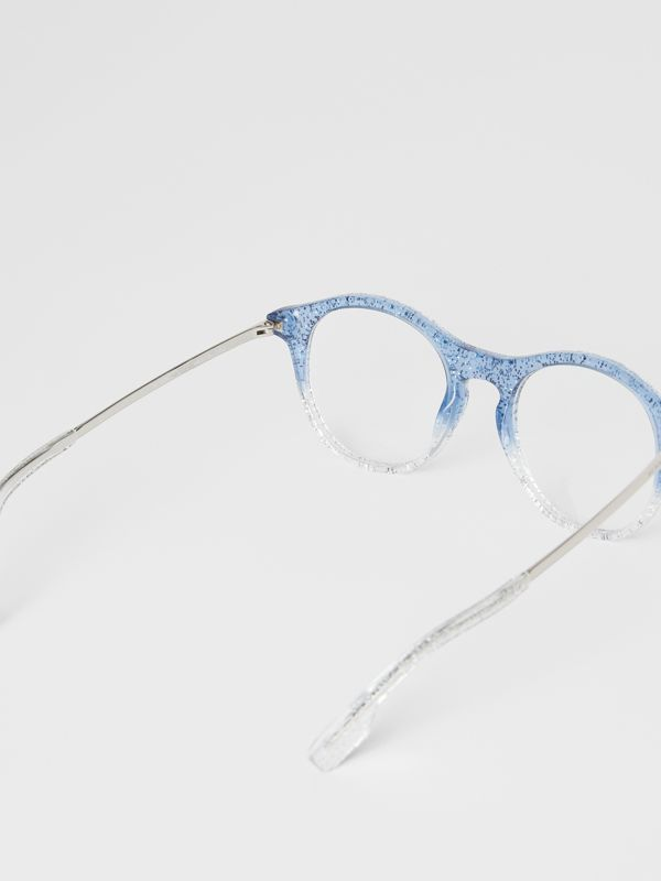 Glitter Detail Round Optical Frames in Blue - Women | Burberry - cell image 3