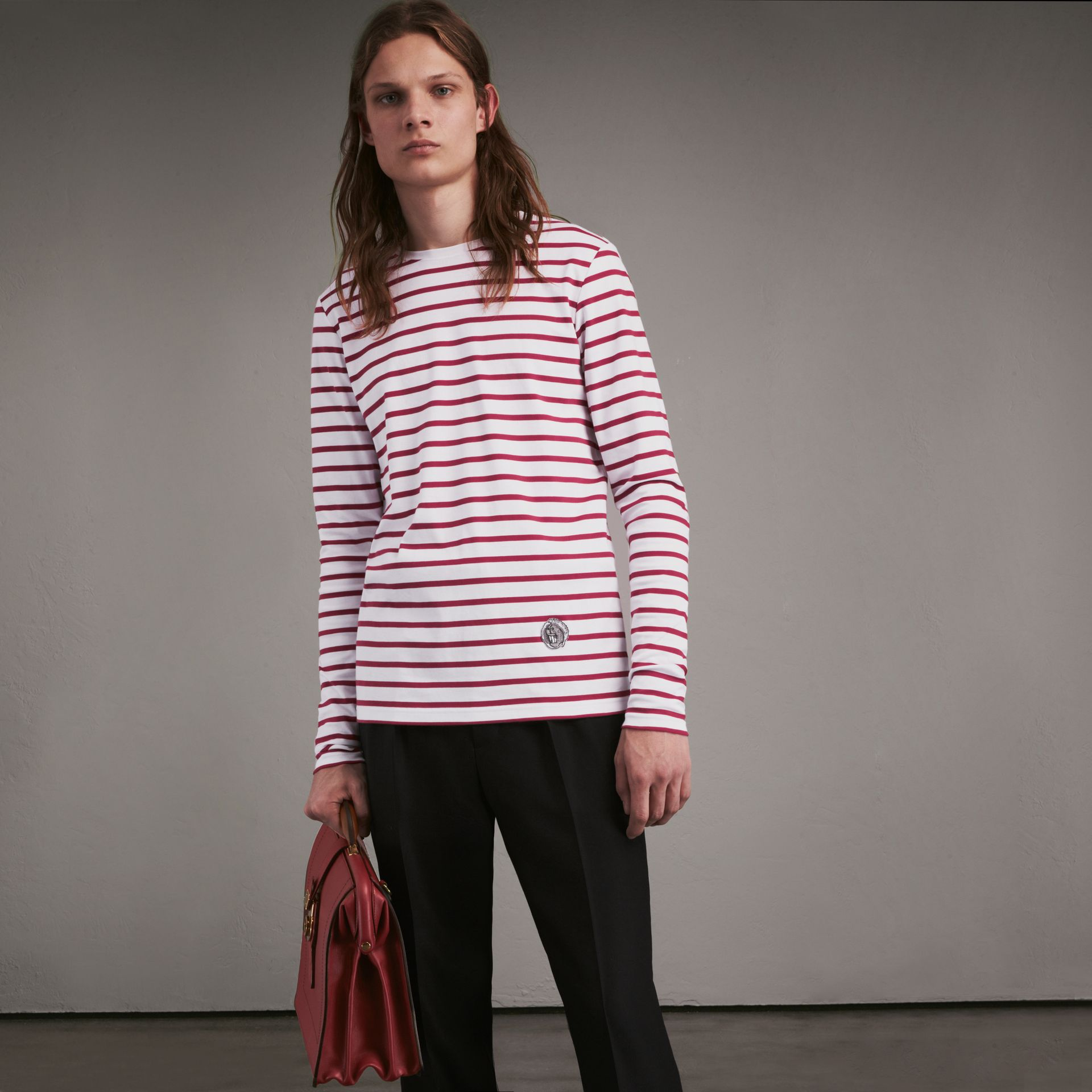 Unisex Pallas Heads Motif Breton Stripe Cotton Top in Parade Red - Men | Burberry - gallery image 0