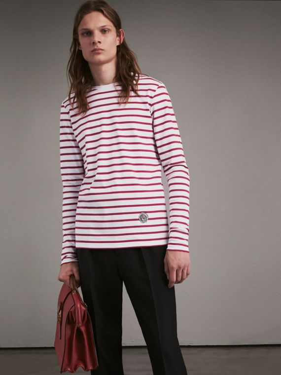 Unisex Pallas Heads Motif Breton Stripe Cotton Top