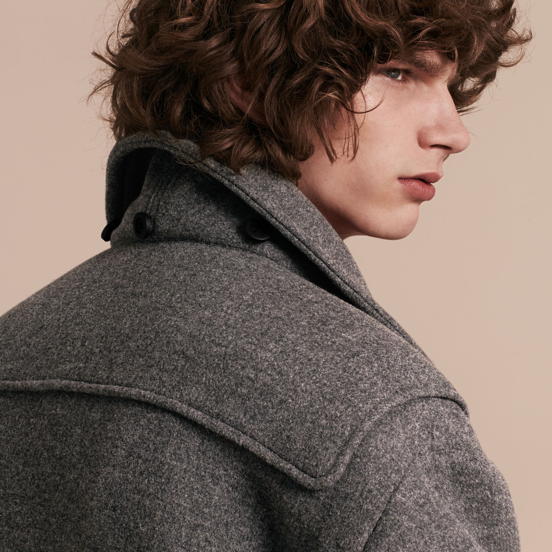 Mid grey Double Splittable Wool Blend Duffle Coat - gallery image 6
