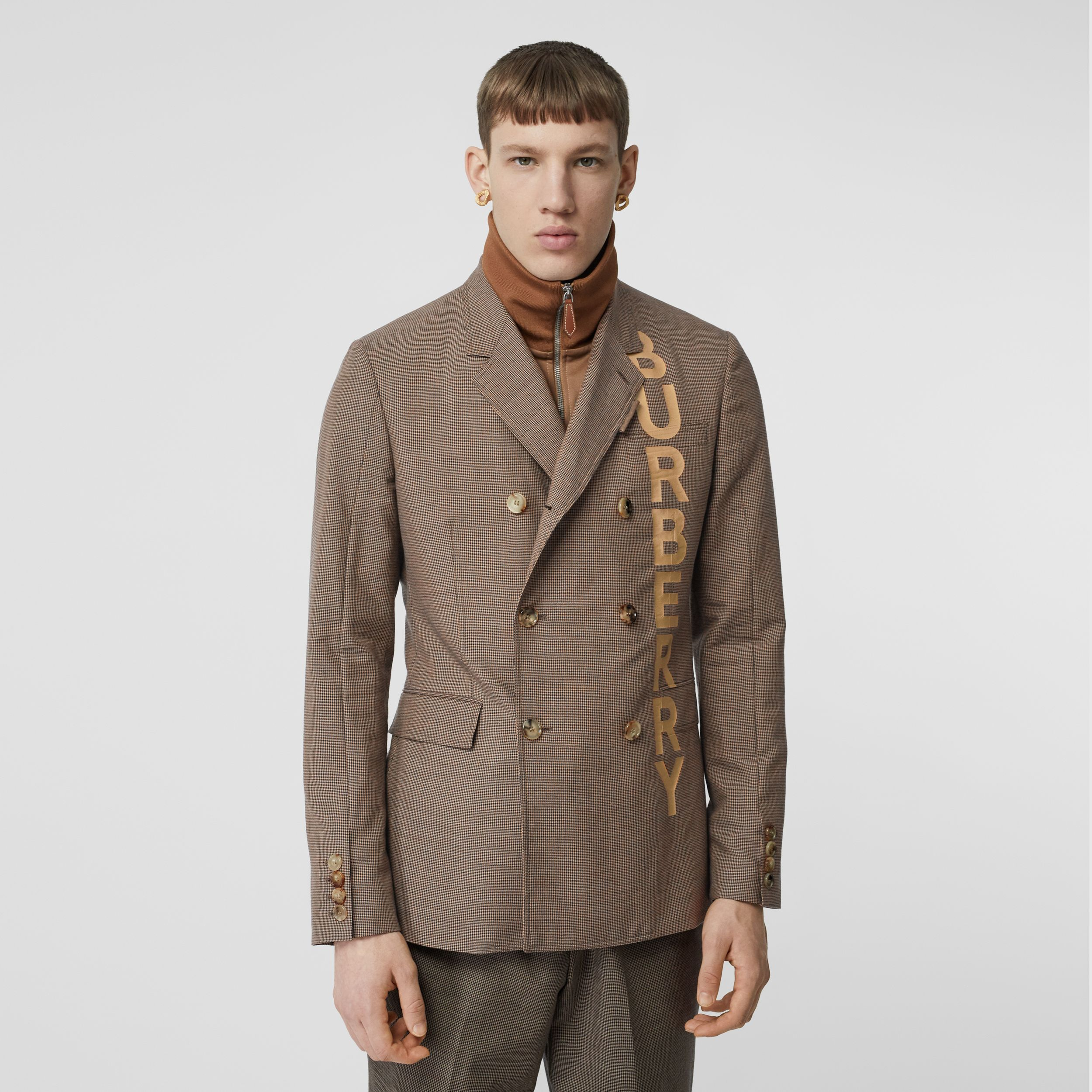 Slim Fit Logo Print Cotton Wool Blend Tailored Jacket in Beige - Men | Burberry United Kingdom - 1