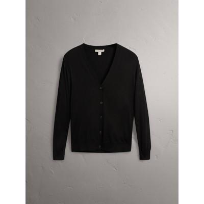 Check Detail Merino Wool Cardigan in Black - Women | Burberry ...