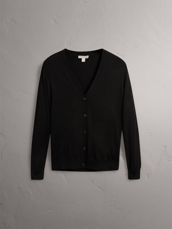 Check Detail Merino Wool Cardigan in Black - Women | Burberry Canada - cell image 3