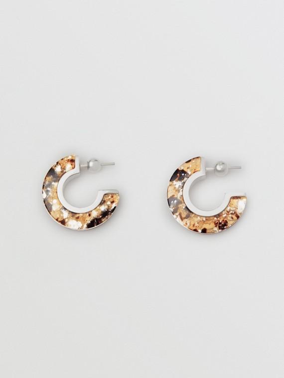 Marbled Resin Palladium-plated Hoop Earrings in Palladio/caramel