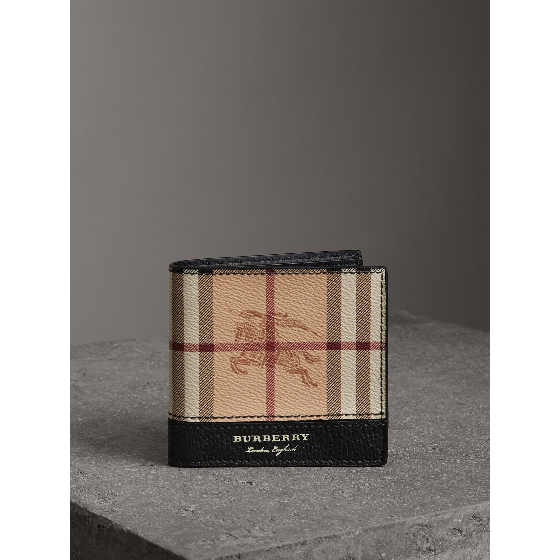 Haymarket Check International Bifold Coin Wallet in Black - Men | Burberry - gallery image 4