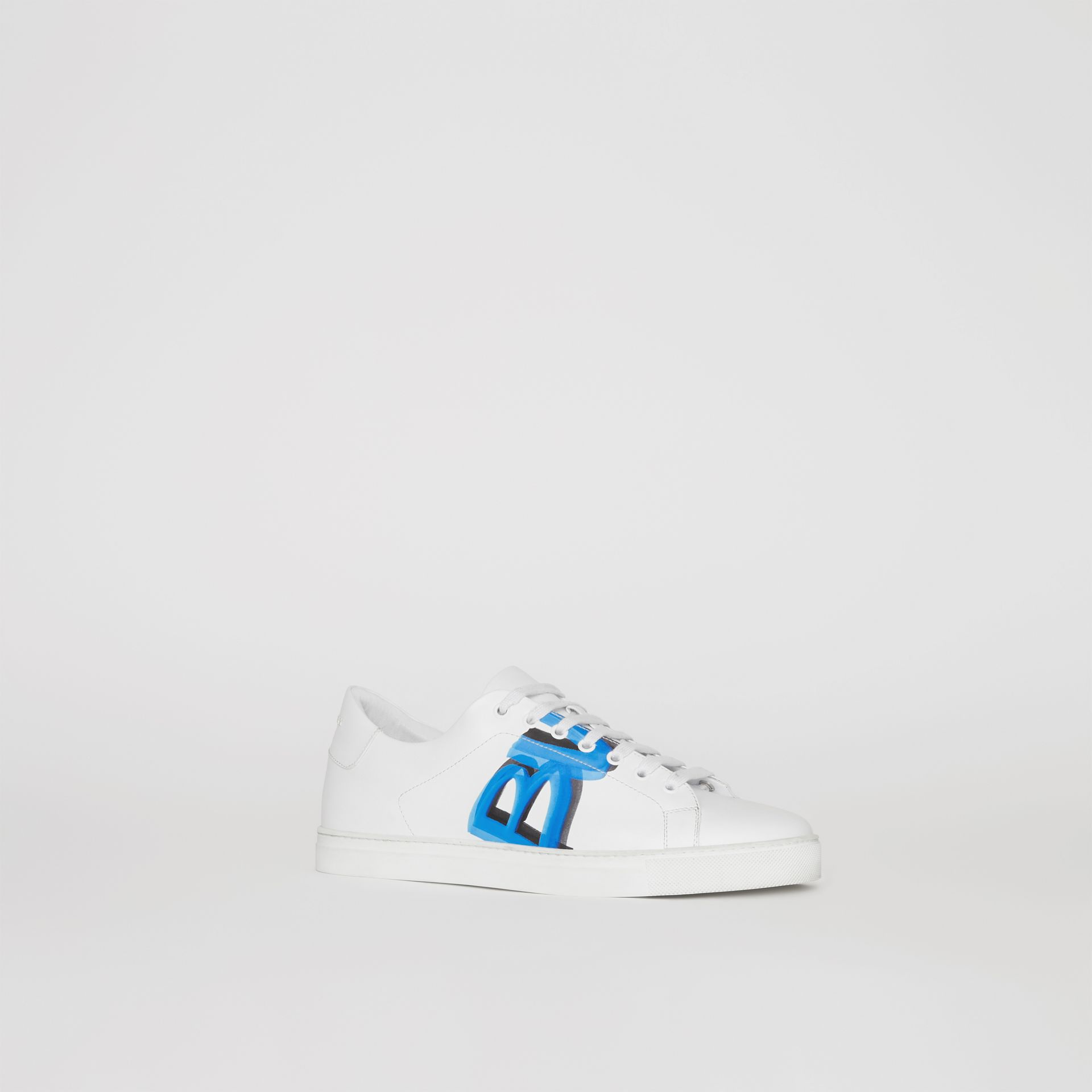 Logo Print Leather Sneakers in Optic White/bright Sky Blue - Men | Burberry - gallery image 7