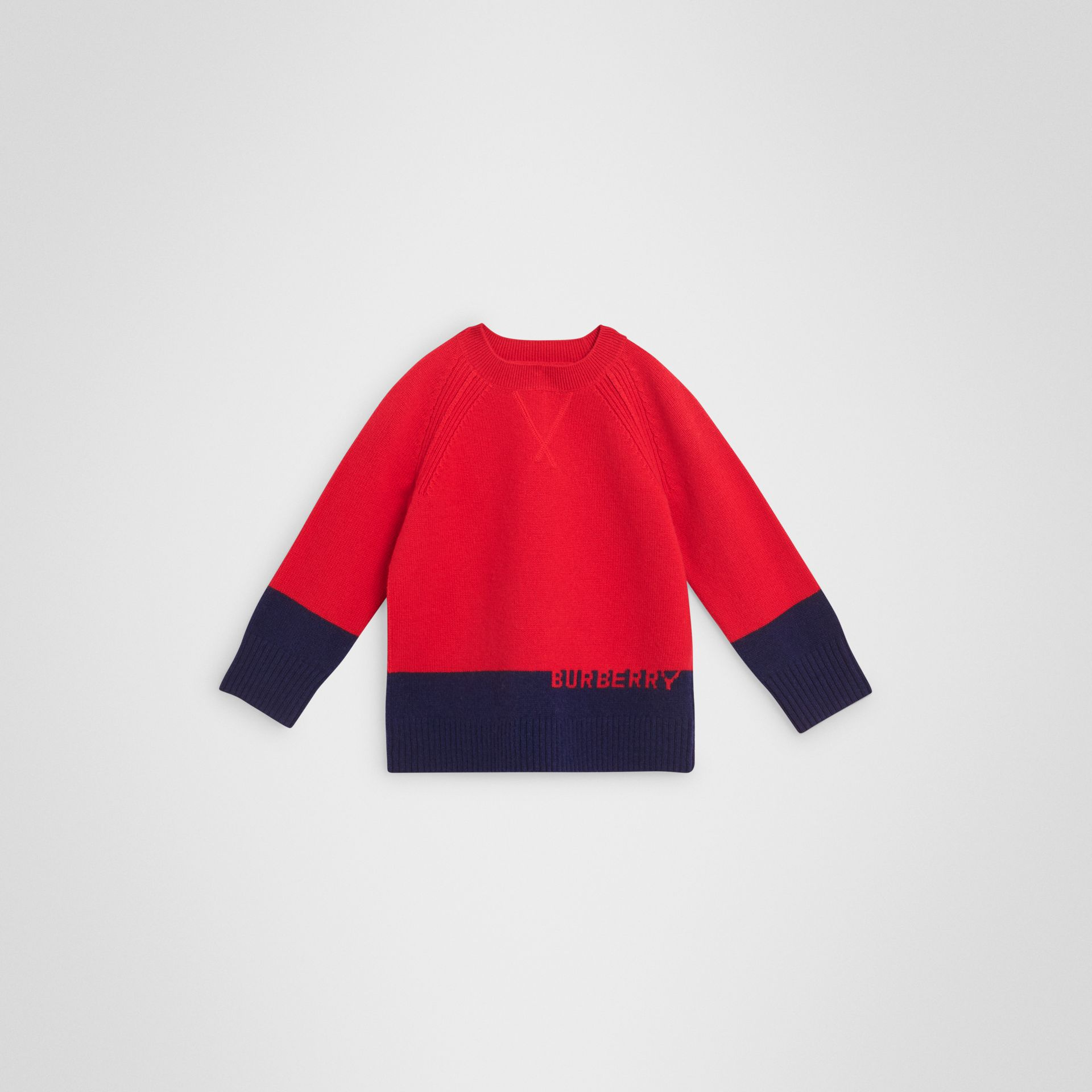 Logo Intarsia Cashmere Sweater in Bright Red - Boy | Burberry - gallery image 0