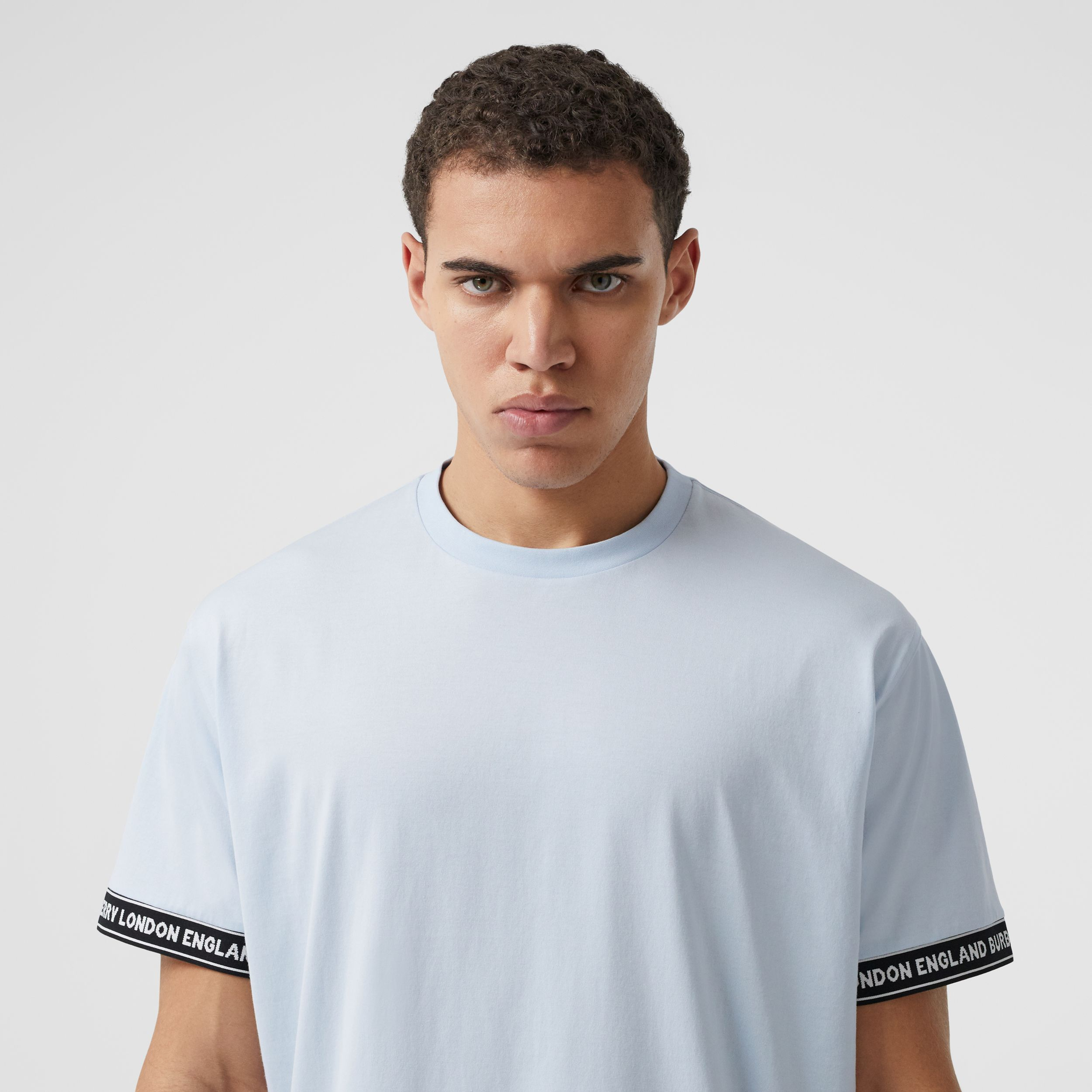 Logo Tape Cotton Oversized T-shirt in Pale Blue - Men | Burberry Canada - 2