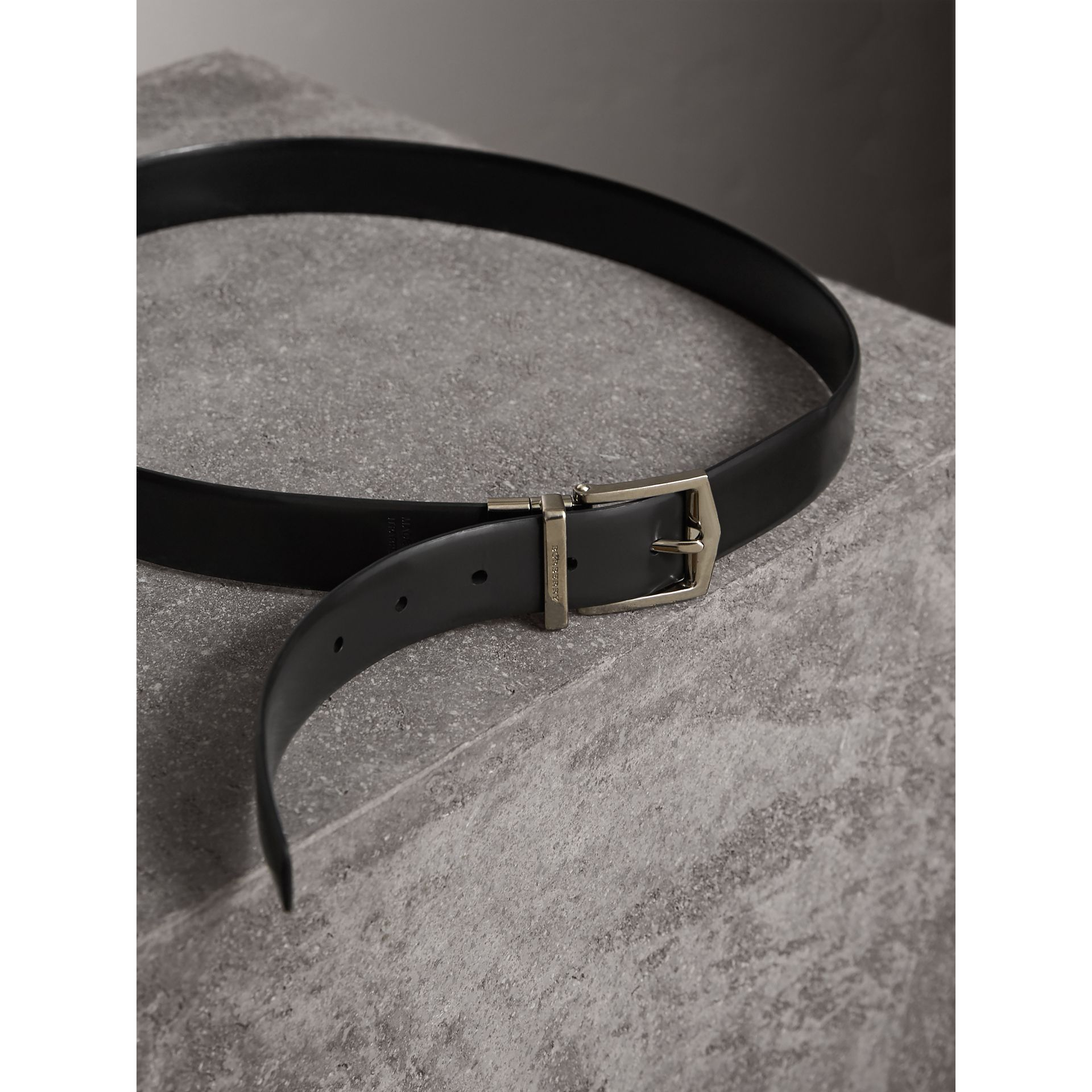 Reversible Bridle Leather Belt in Black/chocolate - Men | Burberry United Kingdom - gallery image 5