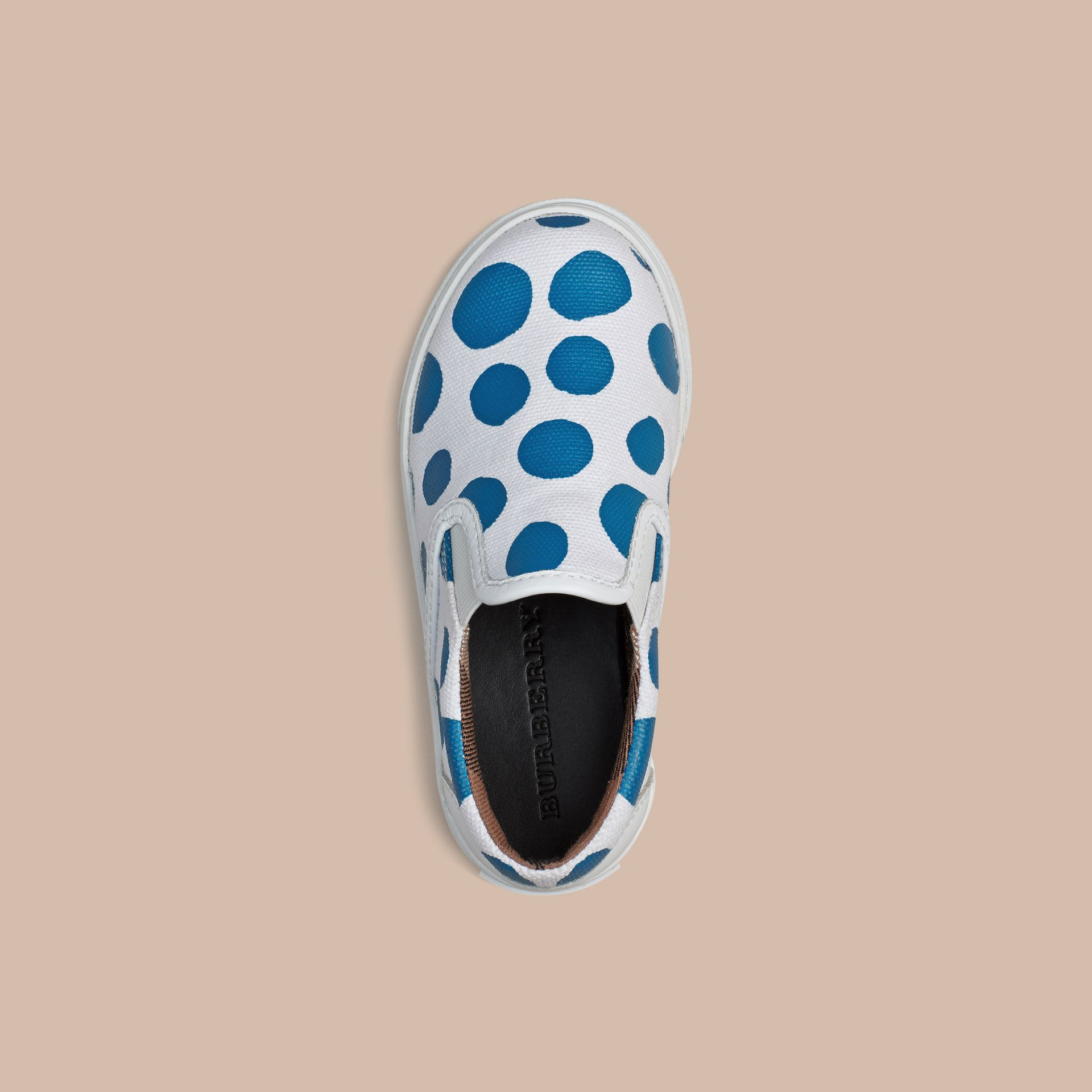 Cornflower blue Dot Print Cotton and Leather Slip-on Trainers - gallery image 3