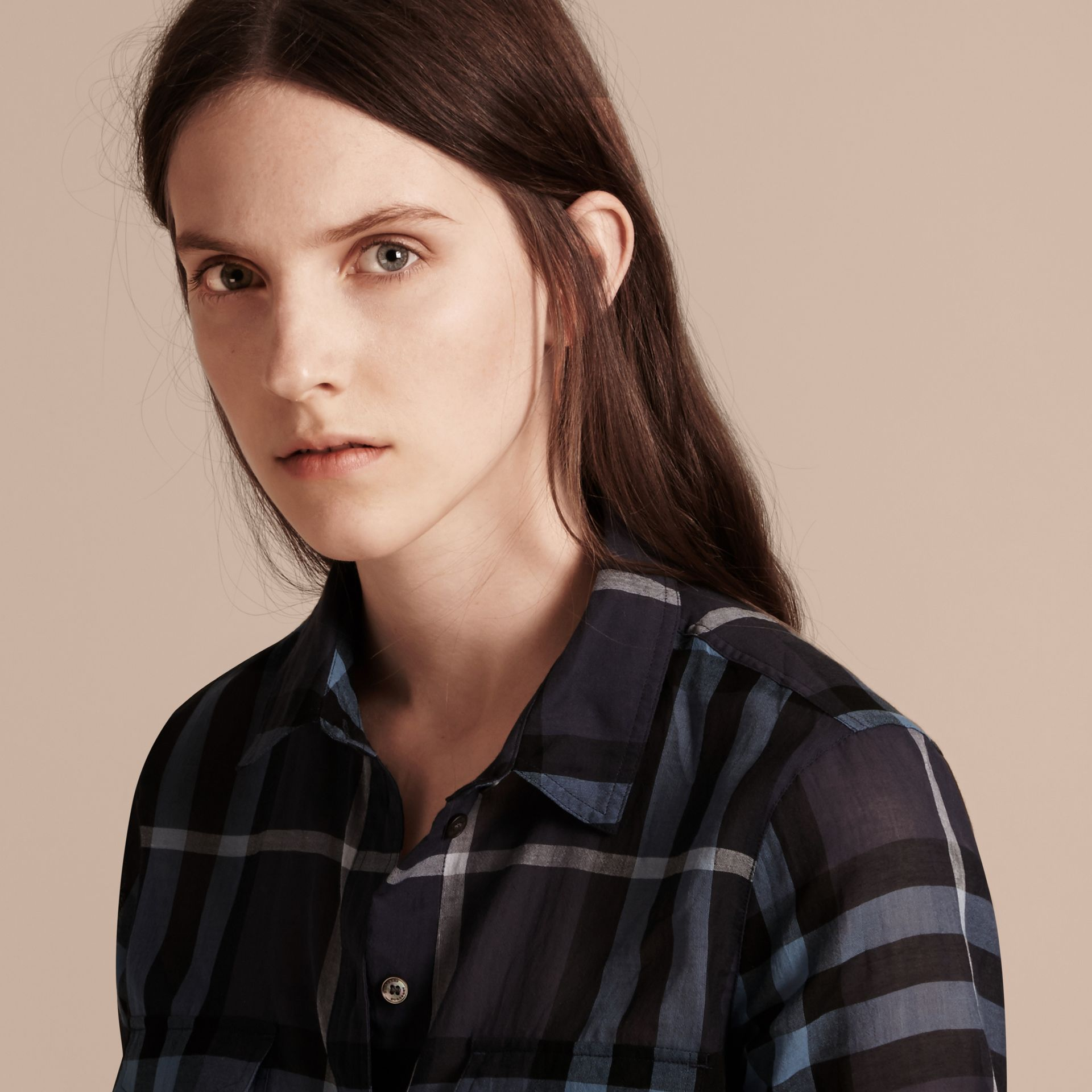 Ink blue Check Cotton Shirt Ink Blue - gallery image 5