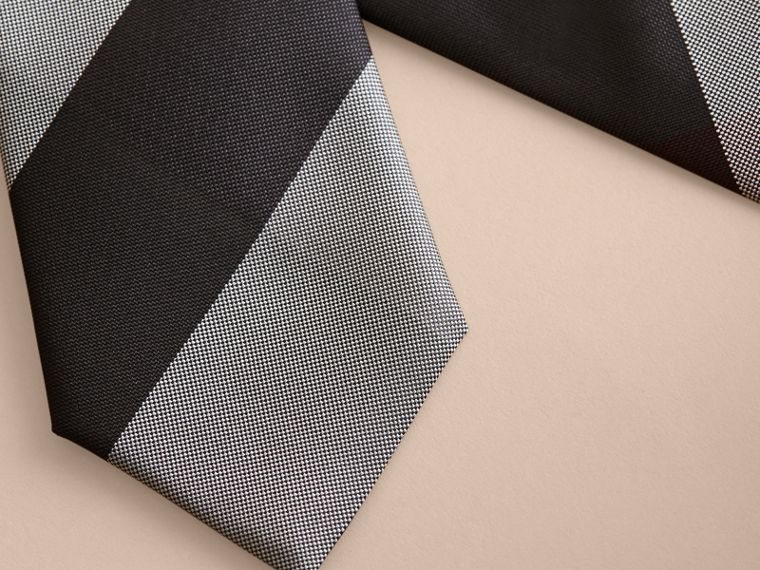 Modern Cut Check Silk Tie in Charcoal - Men | Burberry - cell image 1