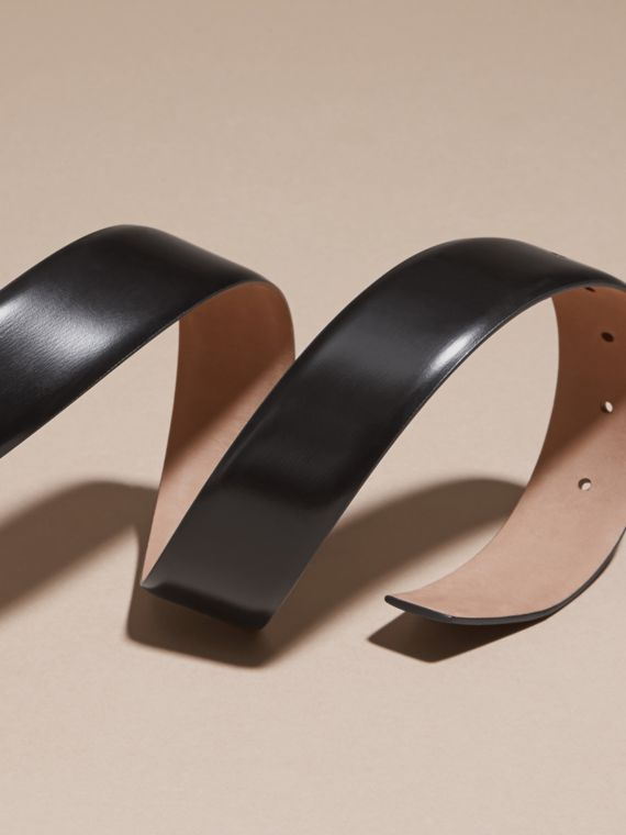 Polished Plaque Buckle Bridle Leather Belt in Black - Men | Burberry - cell image 3