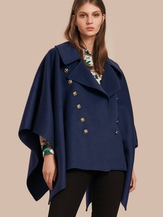 Military Button Wool Cashmere Blend Cape Navy