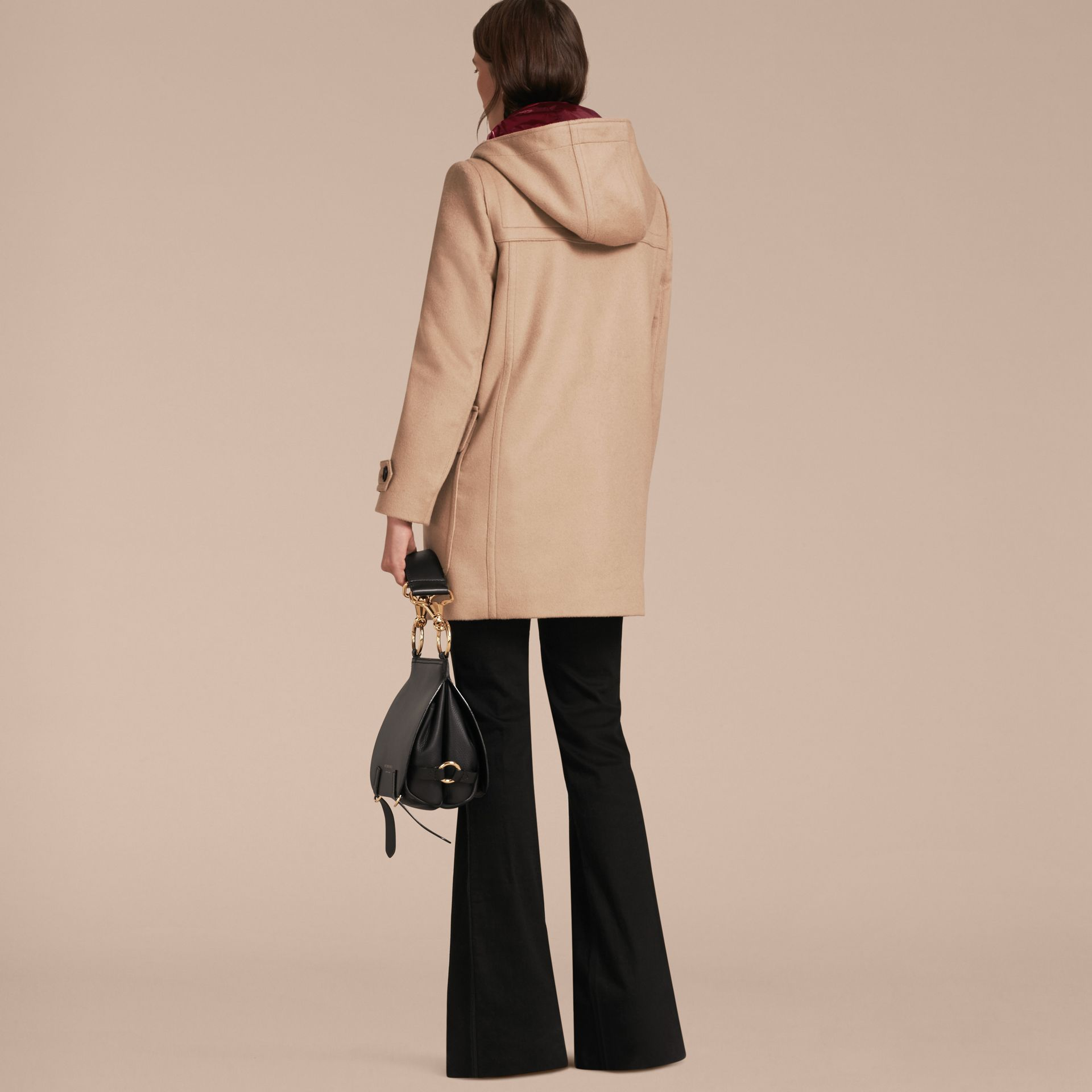 Wool Duffle Coat with Detachable Hooded Down-filled Warmer in Camel - gallery image 8