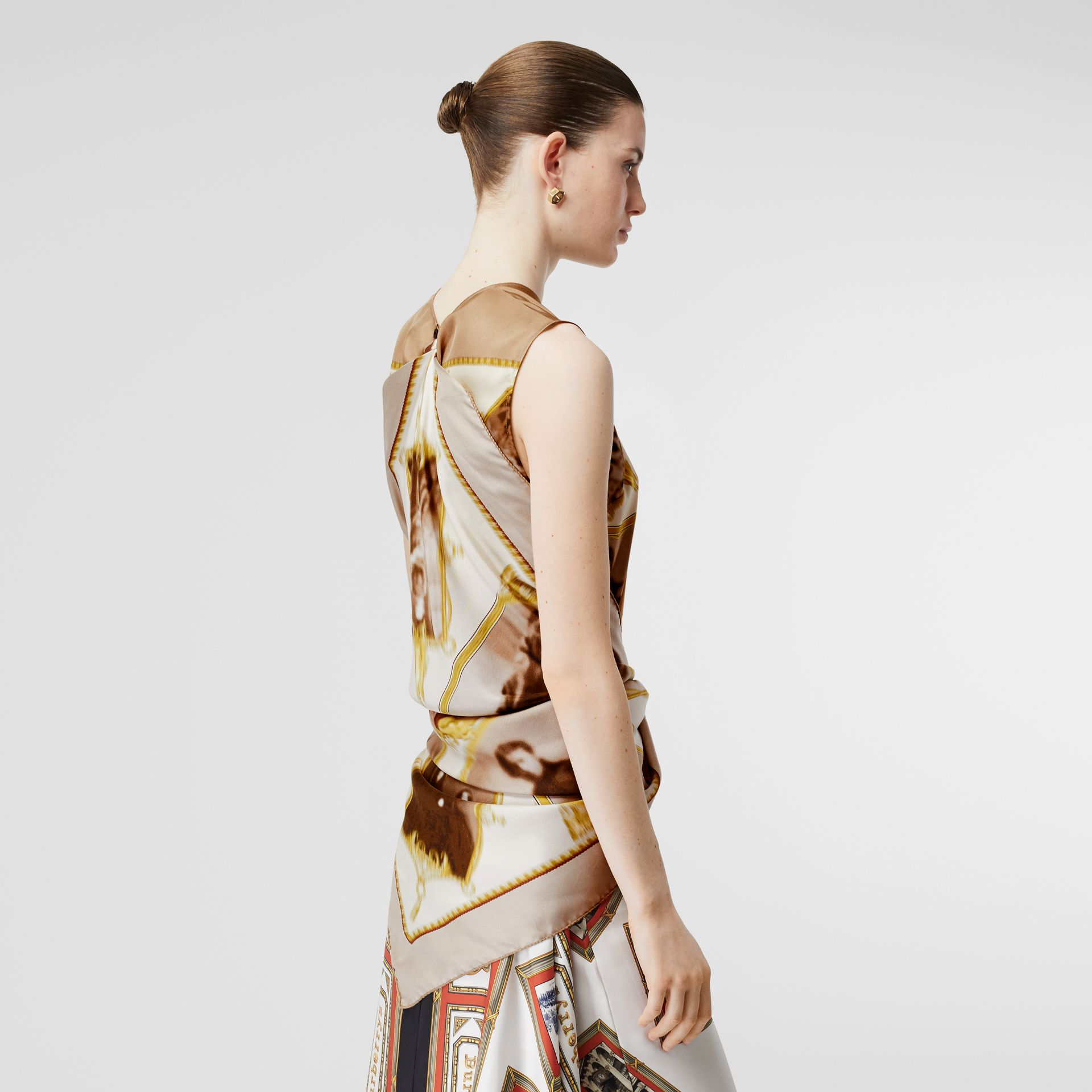 Sleeveless Montage Print Silk Top in Brown - Women | Burberry - gallery image 2