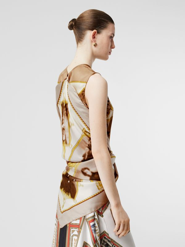 Sleeveless Montage Print Silk Top in Brown - Women | Burberry Canada - cell image 2