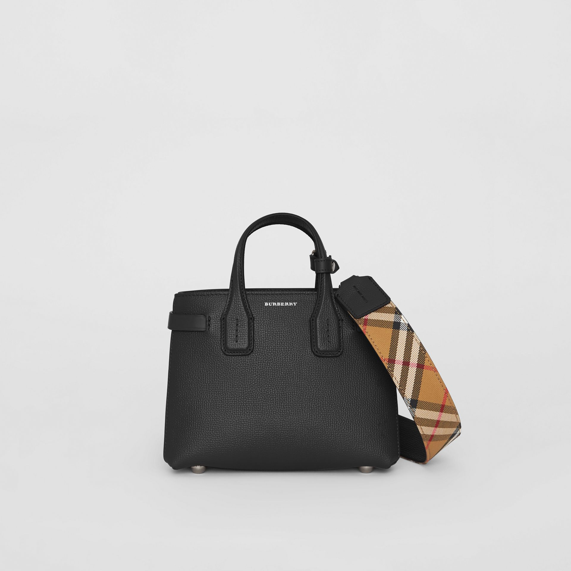 The Baby Banner in Leather and Vintage Check in Black - Women | Burberry - gallery image 0