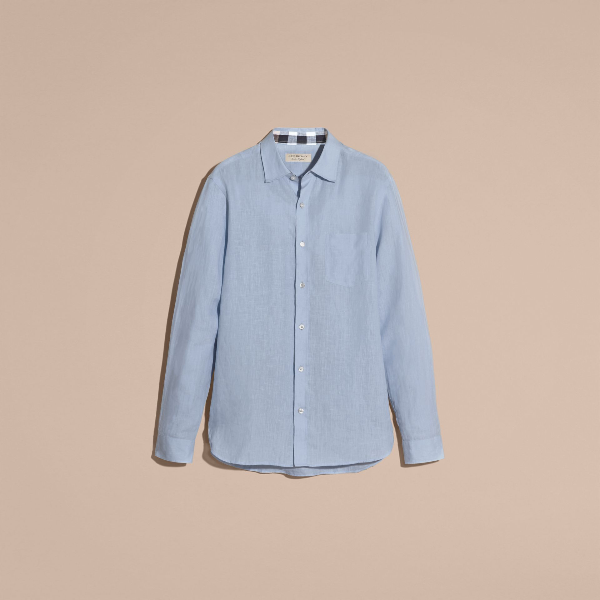Check Detail Linen Shirt in Pale Blue - Men | Burberry - gallery image 4