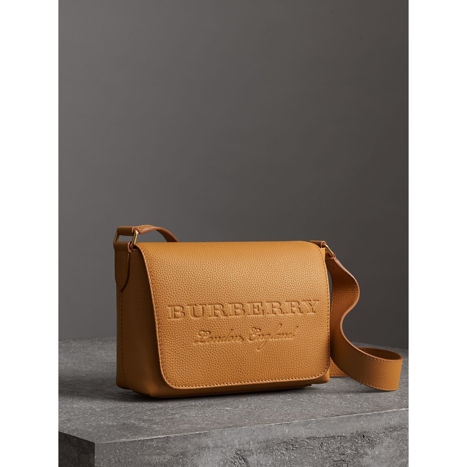Small Embossed Leather Messenger Bag in Ochre Yellow - Women | Burberry United Kingdom - gallery image 6