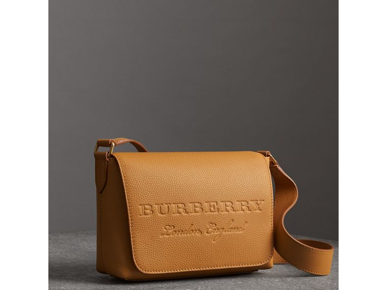 Small Embossed Leather Messenger Bag in Ochre Yellow - Women | Burberry Australia - cell image 4
