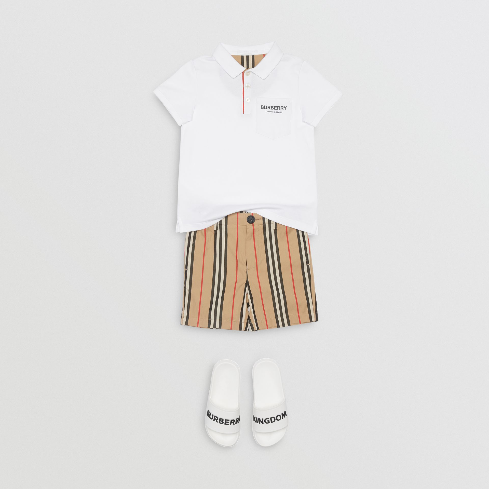 Icon Stripe Placket Cotton Piqué Polo Shirt in White | Burberry - gallery image 2