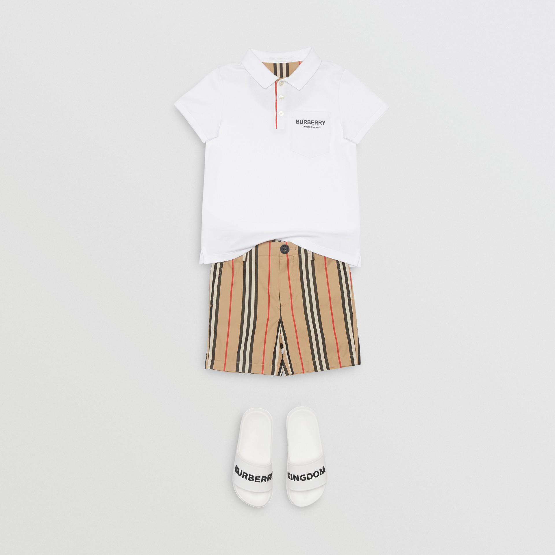 Icon Stripe Placket Cotton Piqué Polo Shirt in White | Burberry United Kingdom - gallery image 2