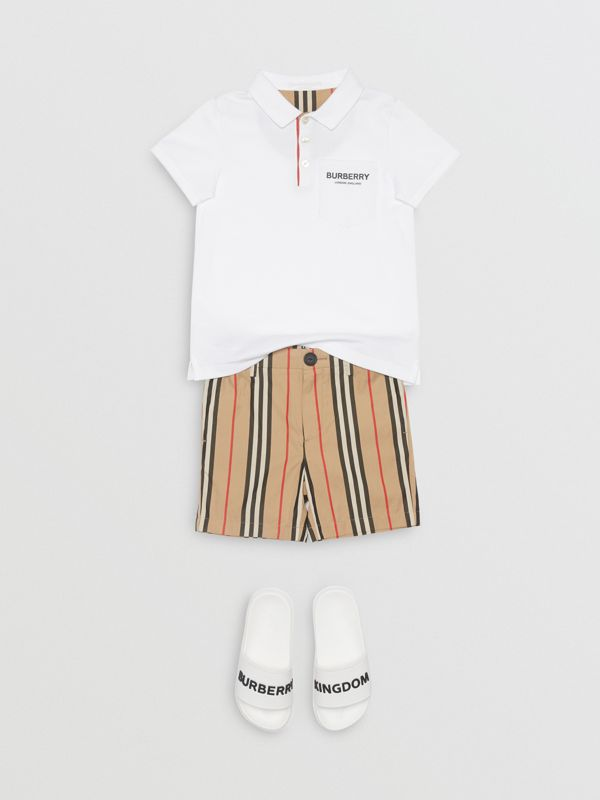 Icon Stripe Placket Cotton Piqué Polo Shirt in White | Burberry United Kingdom - cell image 2