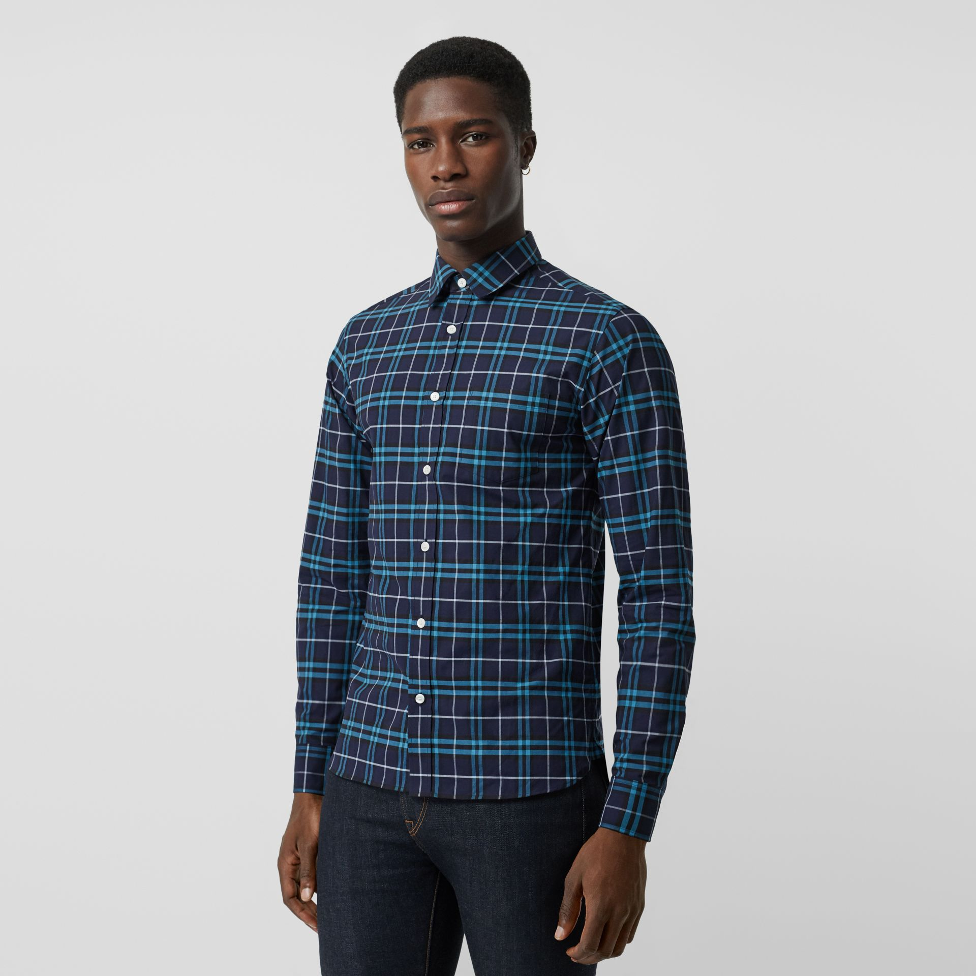 Check Stretch Cotton Shirt in Bright Navy - Men | Burberry United Kingdom - gallery image 0