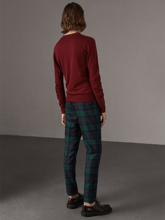 Check Detail Merino Wool V-neck Sweater in Burgundy - Men | Burberry Singapore - cell image 2