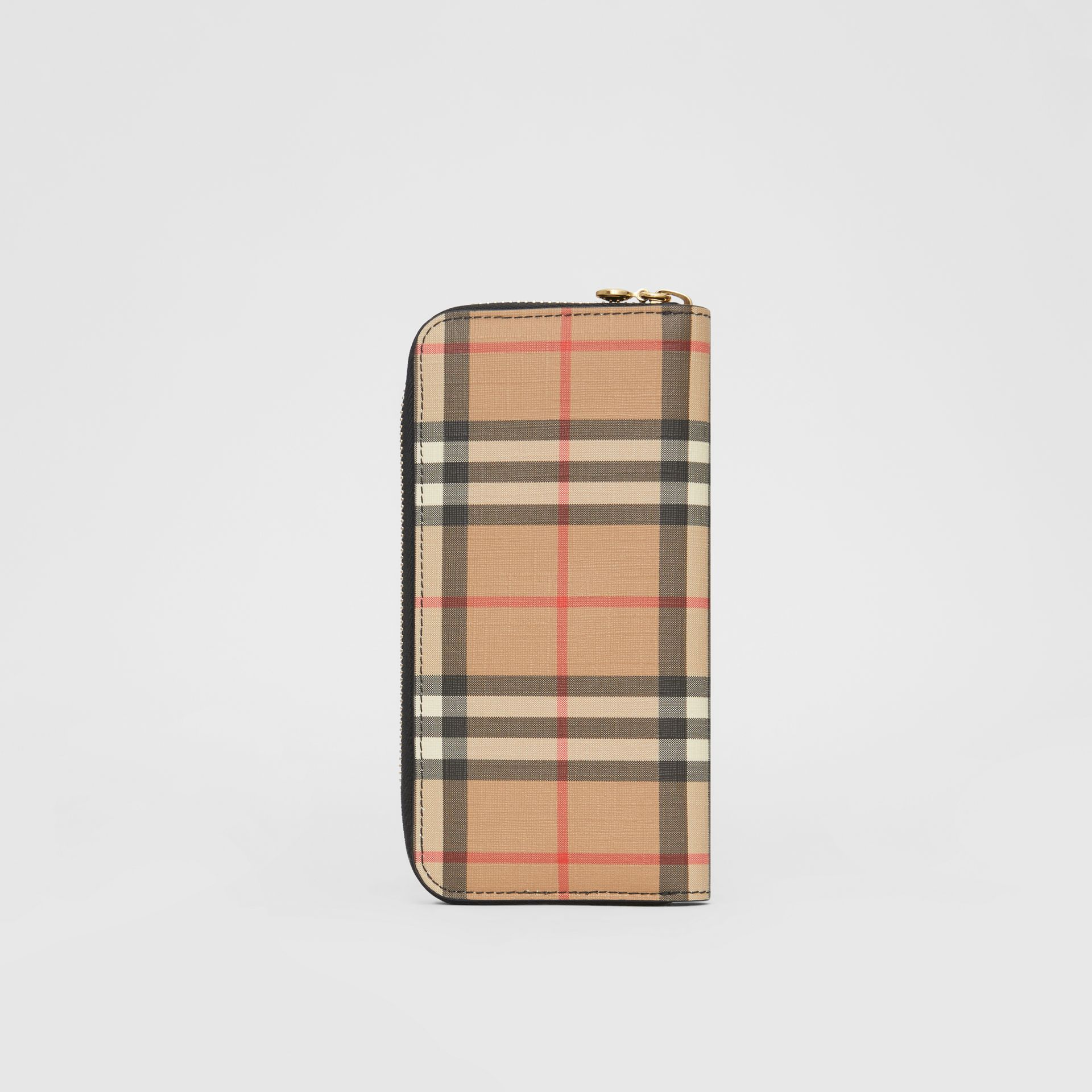 Vintage Check and Leather Ziparound Wallet in Black - Women | Burberry Canada - gallery image 4
