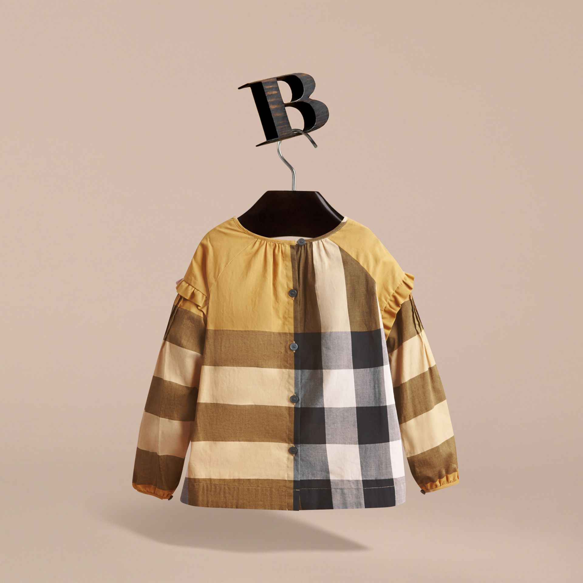Pintuck Detail Check Cotton Top in Yellow Quartz - Girl | Burberry Canada - gallery image 3