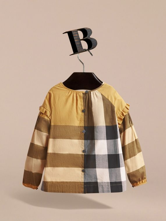 Pintuck Detail Check Cotton Top in Yellow Quartz - Girl | Burberry - cell image 3
