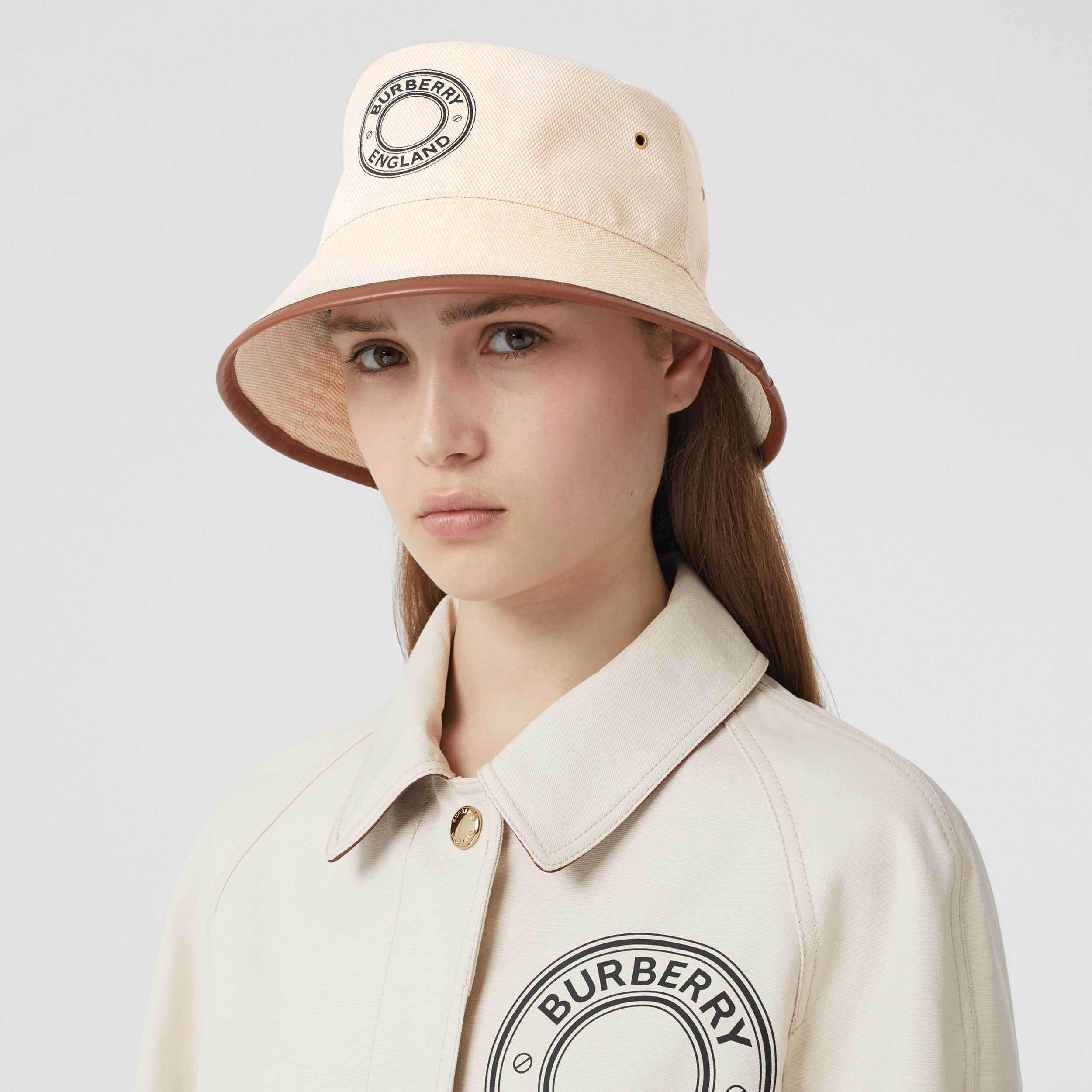 Leather Trim Logo Graphic Canvas Bucket Hat in Beige | Burberry - 3