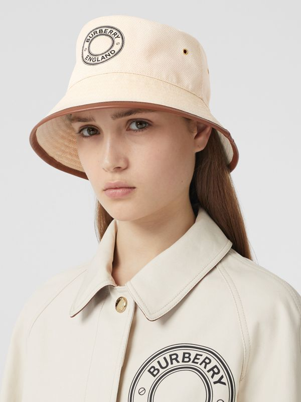 Leather Trim Logo Graphic Canvas Bucket Hat in Beige | Burberry Canada - cell image 2